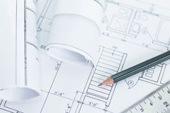 Architect rolls and plans.architectura Royalty Free Stock Photos
