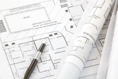 Architect rolls and plans. Architectural plan Stock Images