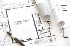 Architect rolls and plans. Architectural plan Stock Image