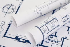 Architect rolls and plans. Architectural plan , Technical project drawing royalty free stock image