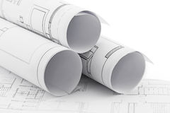 Architect rolls and plans. Construction plan drawing royalty free stock photography