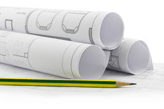Architect rolls and plans Stock Images