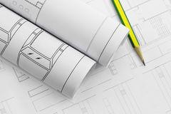 Architect rolls and plans, construction plan drawing and pencil. Work tool Stock Photography