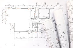 Architect rolls and plans, technical project drawing Stock Image