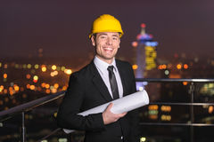 Architect on roof Stock Image