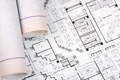Architect's Drawing and Plans Royalty Free Stock Photo