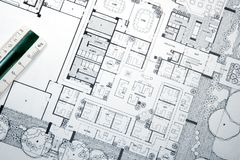 Architect's Drawing and Plans Stock Photography