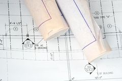 Architect's Drawing and Plans Stock Photo