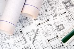 Architect's Drawing and Plans Royalty Free Stock Images