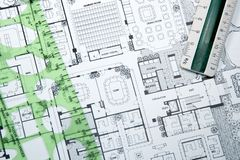 Architect's Drawing and Plans Stock Image