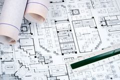 Architect's Drawing and Plans Royalty Free Stock Photography