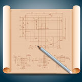 Architect's paper with pencils Royalty Free Stock Photography
