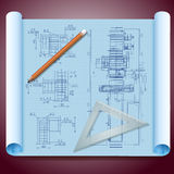 Architect's paper with pencils Stock Image