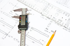 Architect's plan and drawing Stock Image