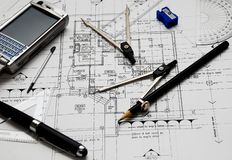 Architect's tools Royalty Free Stock Images