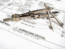Architect's Workspace, Tools, and Blueprints Royalty Free Stock Images