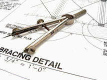 Architect's Workspace, Tools, and Blueprints stock photography