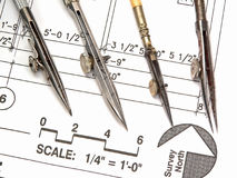 Architect's Workspace, Tools, and Blueprints. A closeup of an architect's office workspace showing his design blueprints and tools of the trade Royalty Free Stock Photo