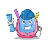 Architect school bag character cartoon. Vector illustration Royalty Free Stock Images