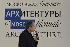 Architect Sergey Choban speaks at ArchMoscow Royalty Free Stock Photos
