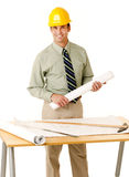 Architect in shirt and tie wearing a hard hat royalty free stock images
