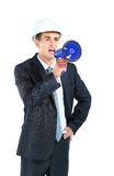 Architect shouting through megaphone Royalty Free Stock Photo