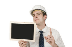 Architect show a black board serious Stock Photos