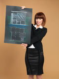 architect showing blueprint of house Royalty Free Stock Photo