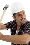 Architect showing his hammer with Stock Image