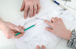 Architect showing house plans Royalty Free Stock Photography