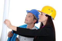Architect showing plans Royalty Free Stock Images