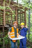 Architect Showing Something To Colleague At Site Stock Photography
