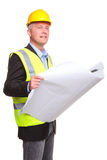 Architect with site drawings cut out Stock Photo