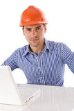 Architect sitting with laptop Stock Photography