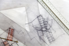 Architect Sketch. Abstract architecture drawings Royalty Free Stock Images