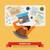 Architect with sketch drawing laptop vector flat workplace Stock Photo