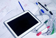 Architect sketches with markers, pens and tablet Stock Image