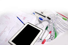Architect sketches with, markers, pens and tablet Royalty Free Stock Photos