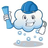 Architect snow cloud character cartoon Stock Photos