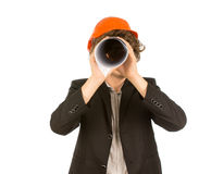 Architect spying on the camera Stock Images