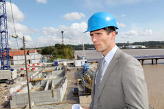 Architect standing on building site Royalty Free Stock Photos