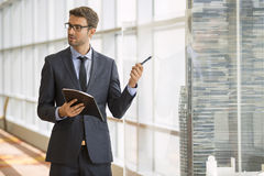 Architect standing giving a presentation Stock Image