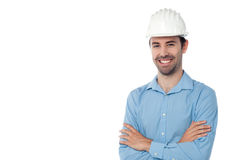 Architect standing with hardhat Royalty Free Stock Photography
