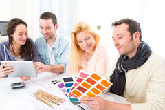 Architect students choosing colors for their project Stock Image