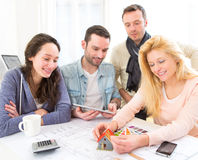 Architect students finalysing their house construction project Royalty Free Stock Photography