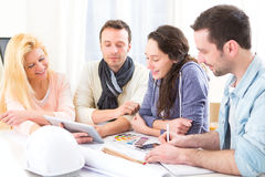 Architect students having a meeting at school Royalty Free Stock Image