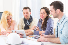 Architect students having a meeting at school Royalty Free Stock Images