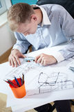 Architect studying the project Royalty Free Stock Photography