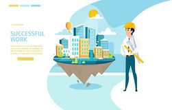 Architect Successful Work Vector Landing Page royalty free illustration