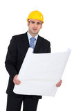 Architect in suit with blueprints Royalty Free Stock Images